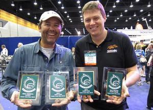 "Patrick Sebile and le distributeur Australien Damon Olsen de ""Nomad Sportfishing"""