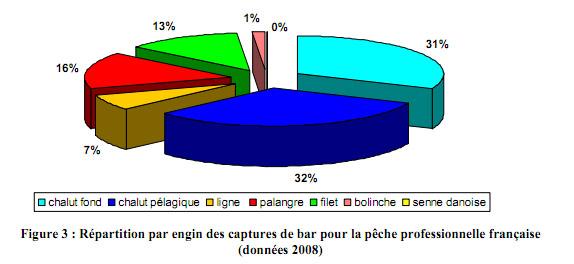 Figure 3 : Répartition par engin des captures de bar pour la pêche pro. française (chalut fond, chalut pélagique, ligne,  palangre, filet, bolinche, senne danoise)