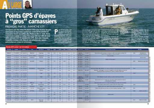 Pêche en Mer 317, décembre 2011 : Points GPS d'épaves