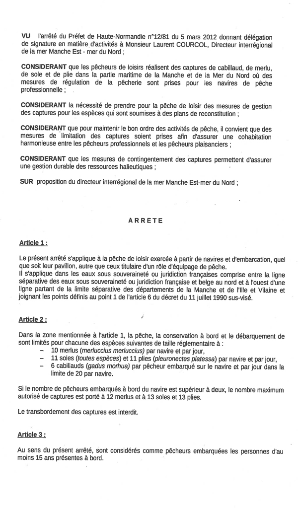 Arrêté du 21-05-12 - Limitation des captures pour la pêche de plaisance